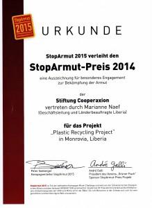 StopArmut Preis Urkunde